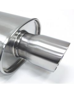 Blox Racing SL Sport Muffler with Double-wall Tip, Brushed Silver
