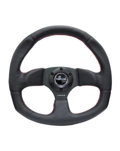 NRG Innovations Reinforced Steering Wheel - Leather Steering Wheel w/ RED stitch