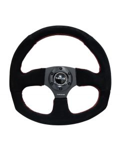NRG Innovations Reinforced Steering Wheel - Suede Leather Steering Wheel w/ RED stitch