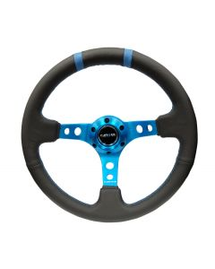 "NRG Innovations RACE STYLE- 350mm Suede Sport Steering Wheel  (3"" Deep) New Blue w/ New Blue Double Center Marking"