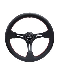"NRG Innovations 350mm Sport Steering Wheel 3"" deep, Black Leather with Red Stitching"