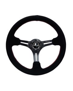 "NRG Innovations REINFORCED 350mm Sport Steering Wheel SUEDE (3"" Deep) Black Leather with Red Stitch"