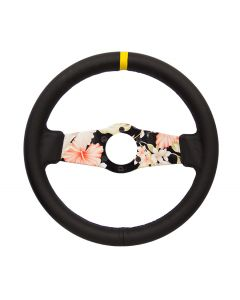 NRG Innovations Reinforced Steering Wheel 310mm Floral Dipped Leather Sport (1.75 Deep) W/ Yellow Center Mark