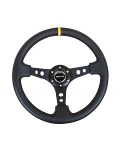 "NRG Innovations Premium Leather Black Stitch 350mm, 3"" Deep Dish Black Spoke w/ Round Holes w/ Yellow Center Mark"