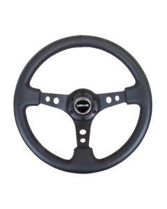 "NRG Innovations 350mm Sport Steering Wheel (3"" Deep) - Black Leather"