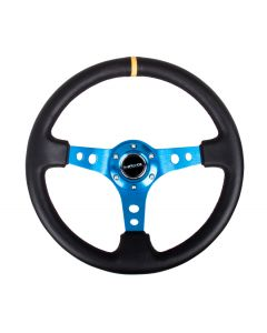 "NRG Innovations Reinforced Steering Wheel - 350mm Sport Steering Wheel (3"" Deep) - Blue Spoke w/ Round holes / Black Leather with yellow center marking"