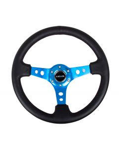 "NRG Innovations Reinforced Steering Wheel - 350mm Sport Steering Wheel (3"" Deep) - Blue Spoke w/ Round holes / Black Leather"