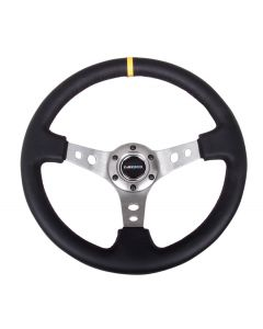 "NRG Innovations Reinforced Steering Wheel - 350mm Sport Steering Wheel (3"" Deep) - Gun Metal Spoke w/ Round holes / Black Leather / Yellow Center Mark"