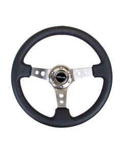"NRG Innovations Reinforced Steering Wheel - 350mm Sport Steering Wheel (3"" Deep) - Gun Metal Spoke w/ Round holes / Black Leather"