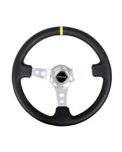 "NRG Innovations Reinforced Steering Wheel - 350mm Sport Steering Wheel (3"" Deep) - SILVER Spoke w/ Round holes / Black Leather / Yellow Center Mark"