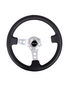 "NRG Innovations Reinforced Steering Wheel - 350mm Sport Steering Wheel (3"" Deep) - SILVER Spoke w/ Round holes / Black Leather"