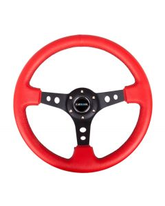 "NRG Innovations Reinforced Steering Wheel - 350mm Sport Steering Wheel (3"" Deep) - Black Spoke w/ Round holes / Red Leather / Black Stitch"