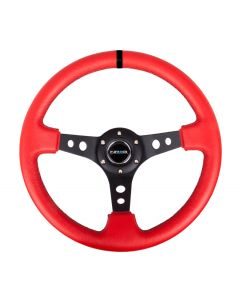 "NRG Innovations Reinforced Steering Wheel - 350mm Sport Steering Wheel (3"" Deep) Black Spoke with Suede finish and Black Stitch"