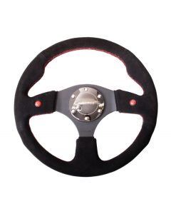 NRG Innovations Reinforced Steering Wheel- 320mm Sport Steering Wheel w/ Blue Trim