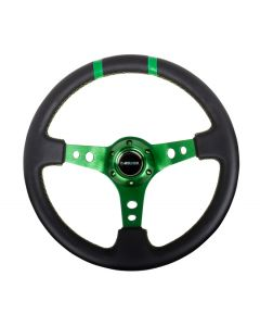"NRG Innovations Reinforced Steering Wheel- 350mm Leather Sport Steering Wheel (3"" Deep) Green Spoke w/ Green Double Center Marking"