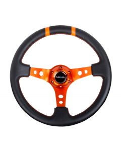 "NRG Innovations RACE STYLE- 350mm Suede Sport Steering Wheel  (3"" Deep) Orange w/ Orange Double Center Marking"