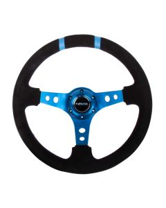 "NRG Innovations Reinforced Steering Wheel- 350mm Suede Sport Steering Wheel (3"" Deep) Blue w/ Blue Double Center Marking"