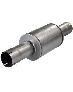 aFe Atlas Exhausts Mufflers Al Steel EXH Muffler 4 ID In/Out 8 Dia x 12L AL